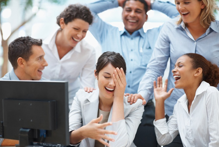 Coworkers laughing