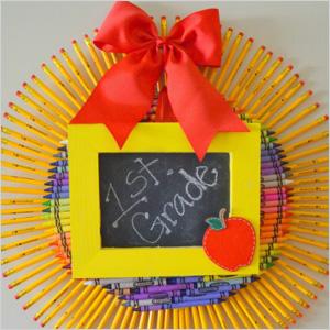 Crayon and pencil wreath