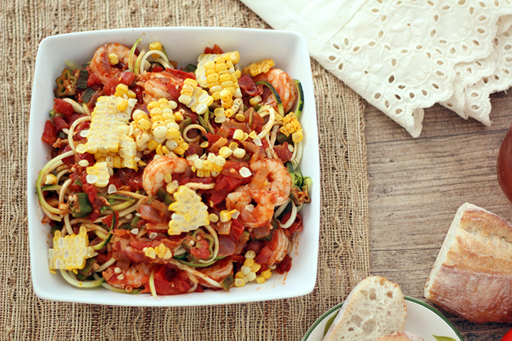 Shrimp, bacon and okra creole-cajun zucchini pasta