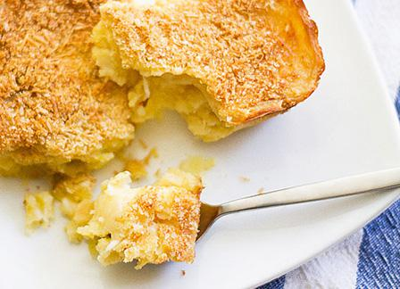 Garlic mashed potatoes baked with fresh