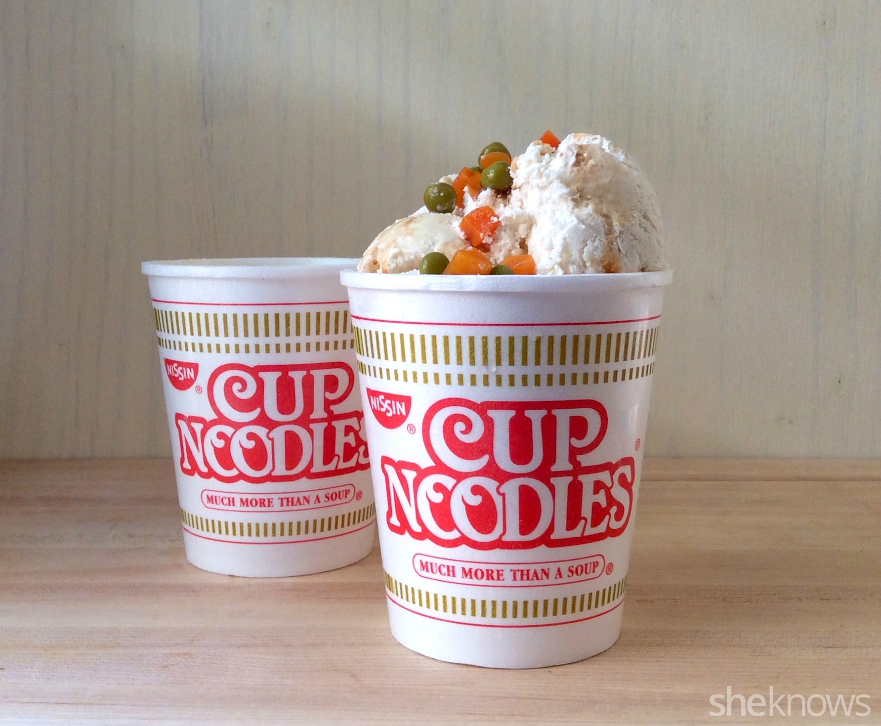 ramen ice cream in cup noodle container