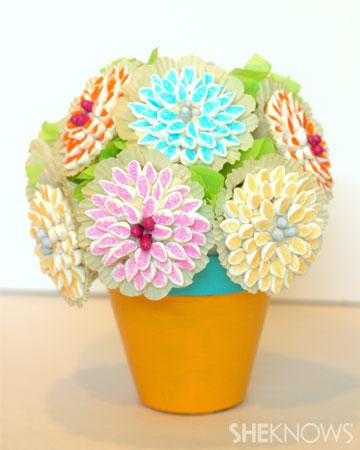Cupcake flowerpot bouquet