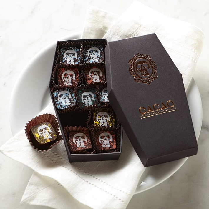 Dark chocolate truffles in a coffin box