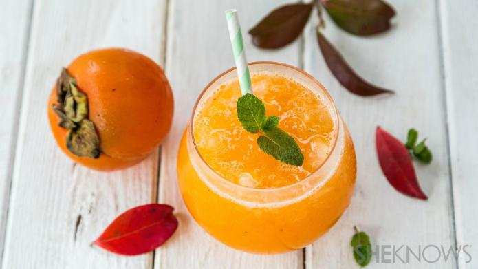 Blended persimmon mocktail is a favorite