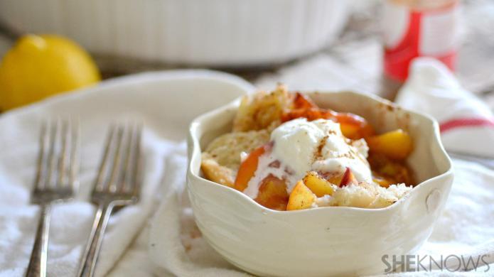 Boozy fresh peach pandowdy, y'all