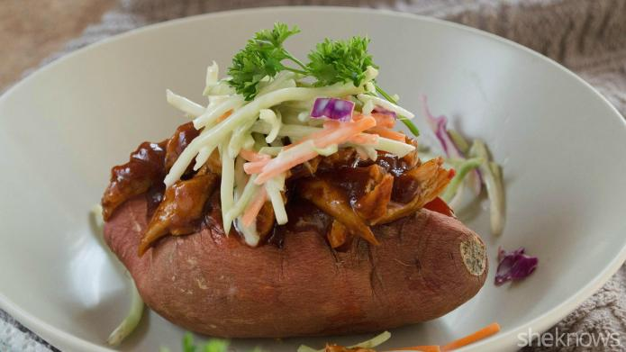 Barbecue chicken-stuffed sweet potatoes are a
