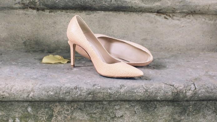 High heel dress shoes left on