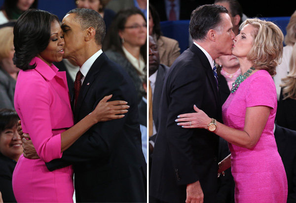 Michelle Obama and Ann Romney both in fuchsia dresses.