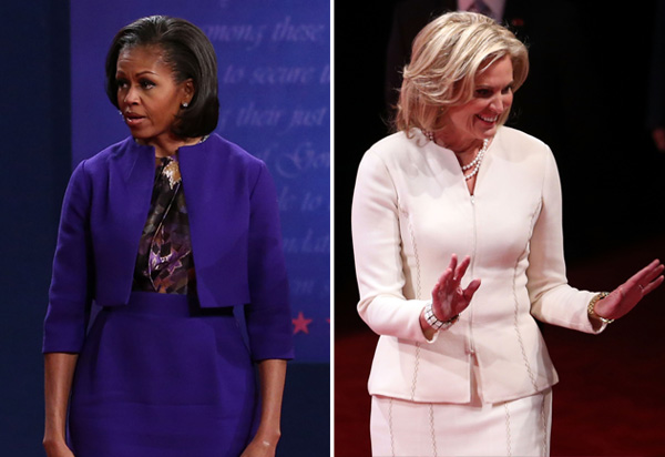 Michelle Obama in a blue and purple dress. Ann Romney in a white suit.