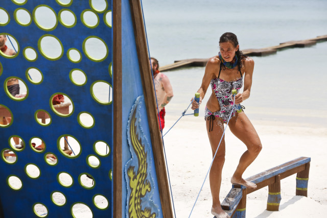 Debbie Wanner competes in challenge on Survivor: Kaoh Rong