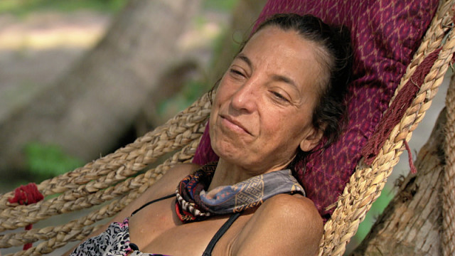 Debbie Wanner in Dara tribe's hammock on Survivor: Kaoh Rong