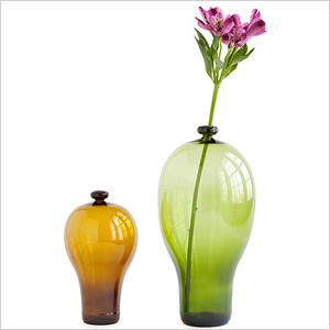 Recycled beer and wine bottle vases