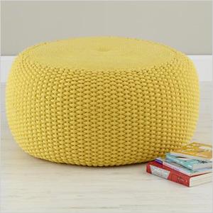 Yellow Braided pouf