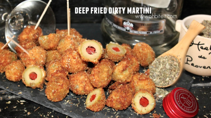 Deep-fried dirty martini bites are a