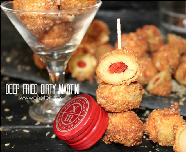 deep-fried dirty martini olives stacked
