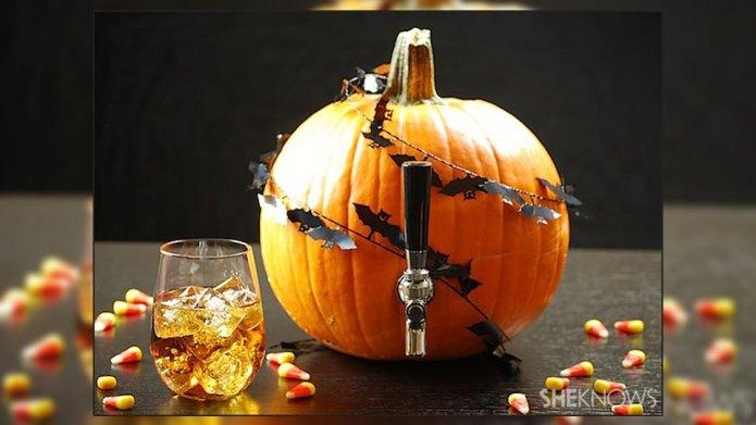 DIY pumpkin keg with harvest sangria