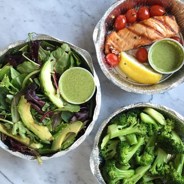 salad, broccoli, and grilled salmon