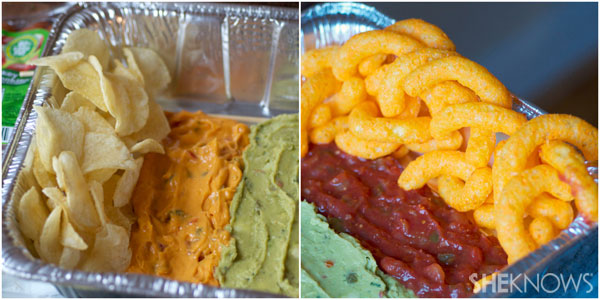 Arrange chips around the dips