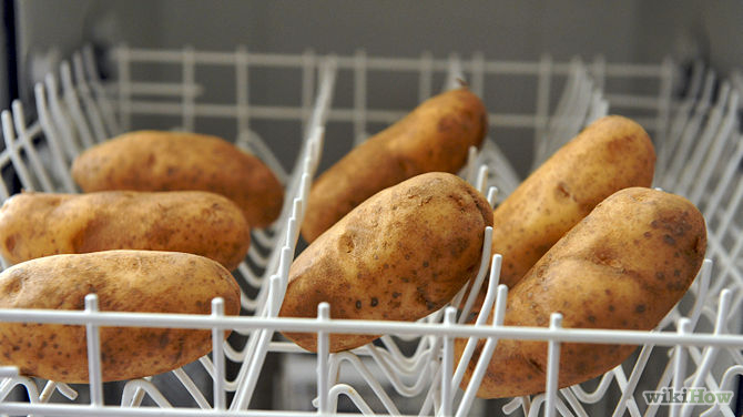 potatoes in the dishwasher