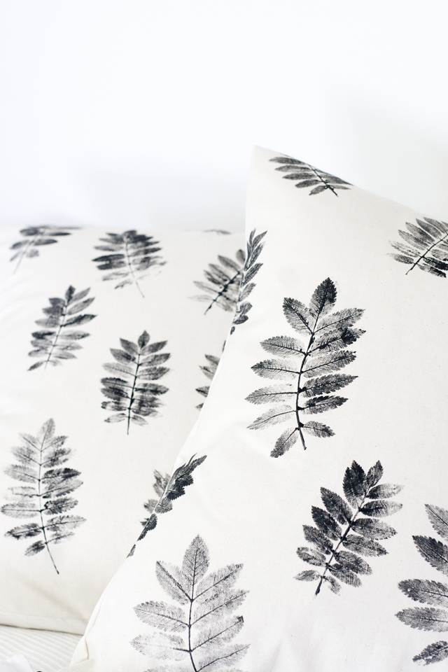 Fall Thanksgiving crafts for kids: leaf print pillowcase