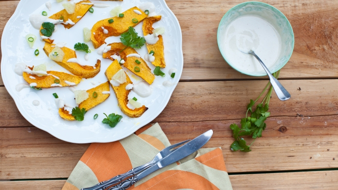 Baked butternut squash salad with cilantro,