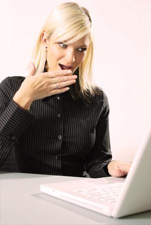 Woman Shocked at Computer