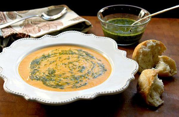 Carrot ginger soup with hot chili