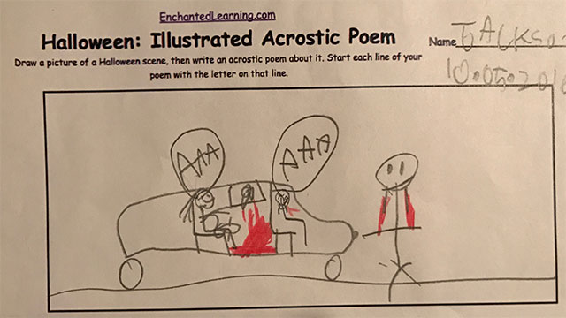 Son's illustration of mom giving birth in car