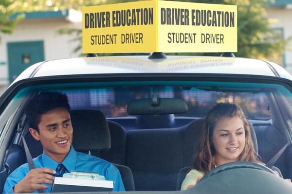 Teen girl in drivers ed