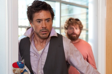 Robert Downey and Zach Galifianakis in Due Date