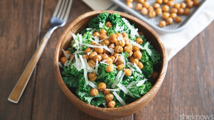 Kale Caesar salad with roasted chickpeas