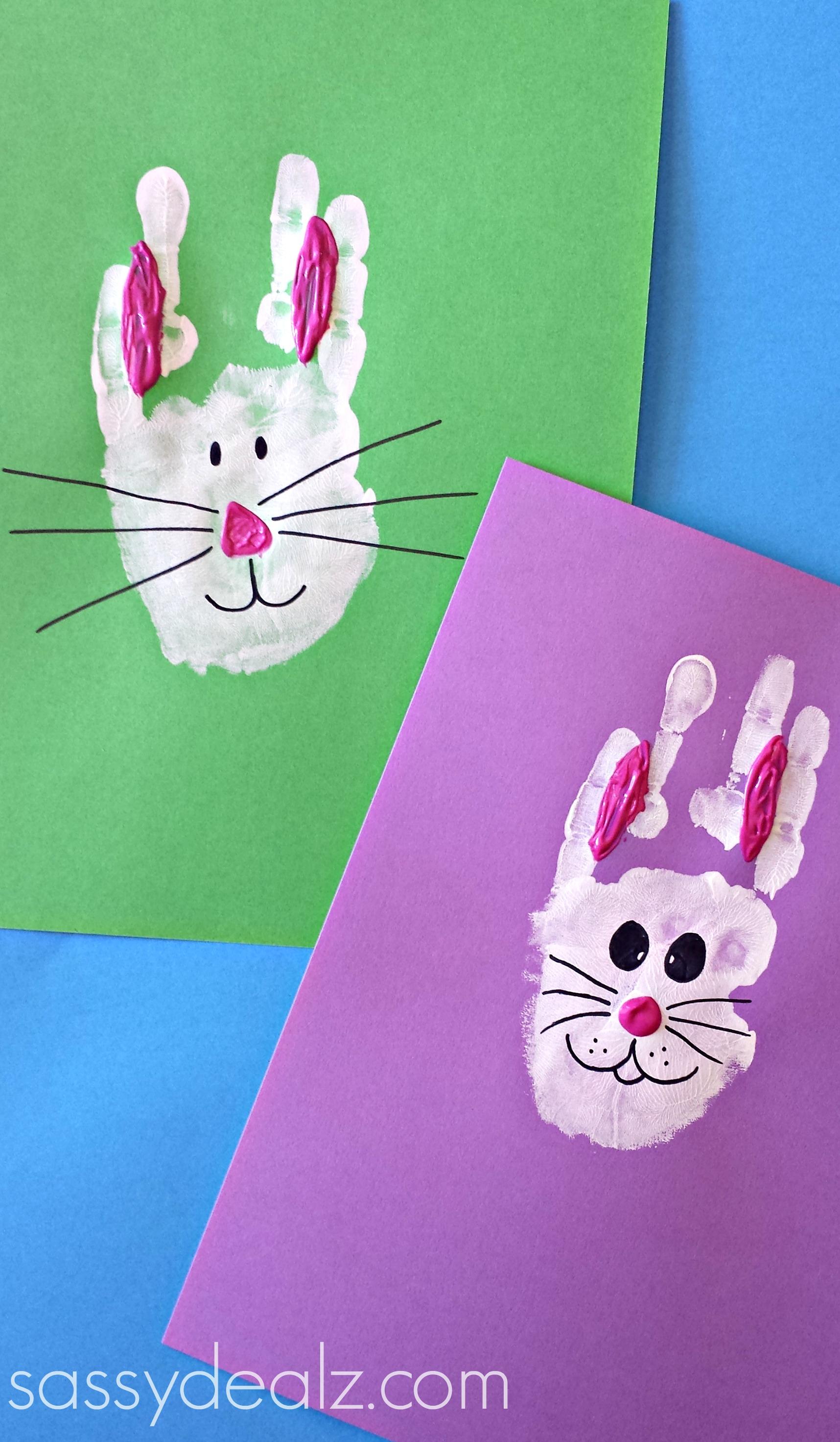 Bunny rabbit handprint by Crafty Morning