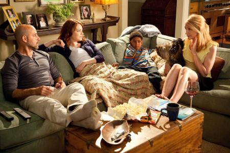 Easy A stars Stanley Tucci, Emma Stone and Patricia Clarkson