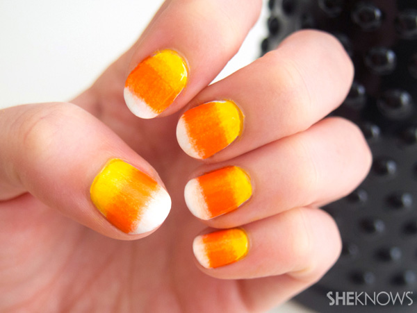 Easy candy corn gradient nails – SheKnows