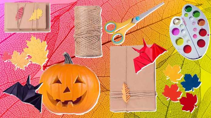 Colorful fall craft supplies