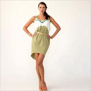 Eco fashion colour block draped tank dress