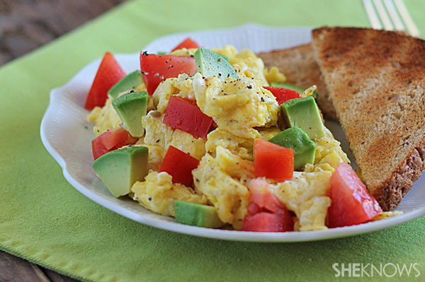 Eggs with avocado and tomatoes