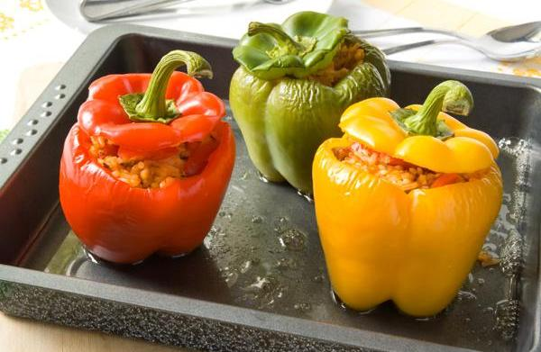 Tonight's dinner: Vegetarian stuffed peppers