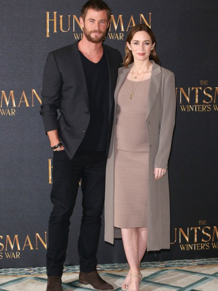 Pregnant Emily Blunt and Chris Hemsworth
