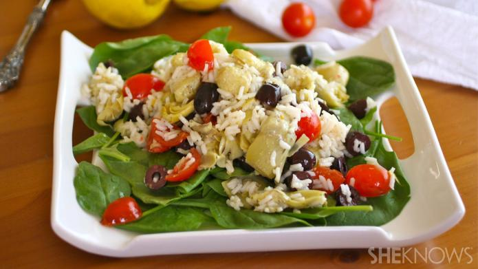 Gluten-free artichoke and rice salad with
