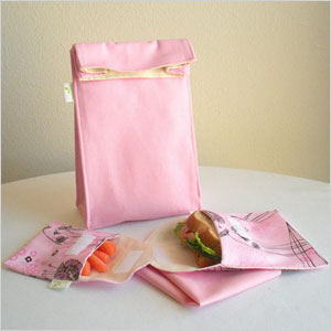 Insulated organic cotton lunch bag set