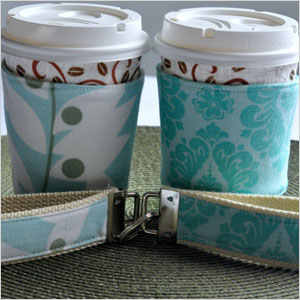 Coffee cozies and key fobs