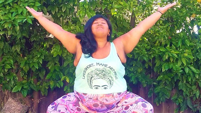 Curvaceous yoga girl changes everything you
