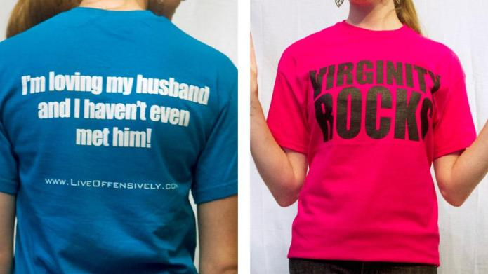 Yes, a 'Virginity Rocks' T-shirt counts