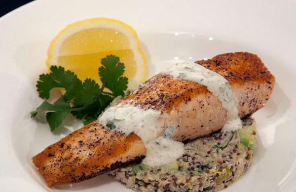 Seared salmon with quinoa and spiced