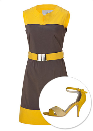 Colorblock dress and shoes to match