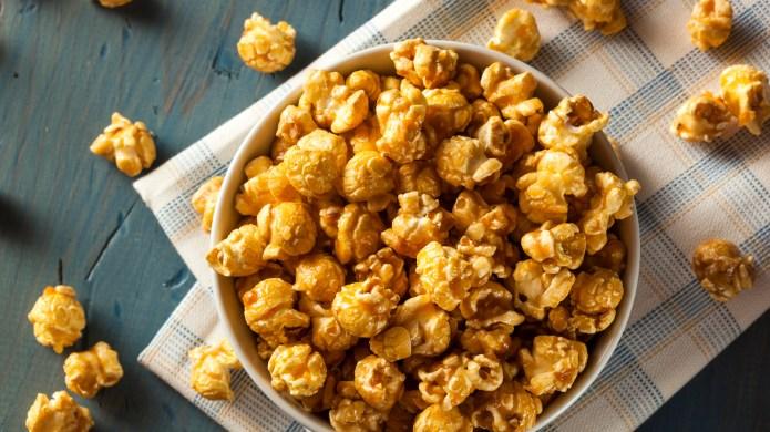 Homemade Golden Caramel Popcorn in a