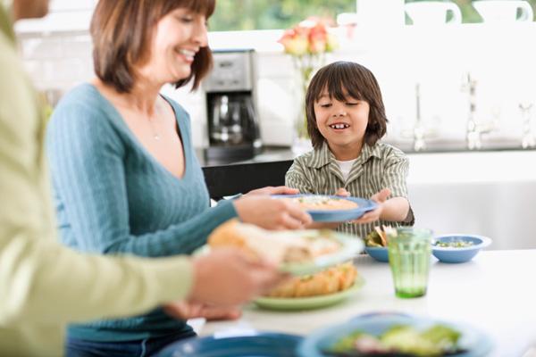 Family eating dinne