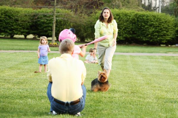 Family Playing Softball