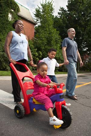 Family taking walk